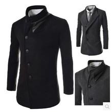 2014 New Fashion Mens Wool Winter Coat Long Sobretudo E Casaco Masculino Korean Fashion Clothing For Men Designer Winter Jackets(China (Mainland))