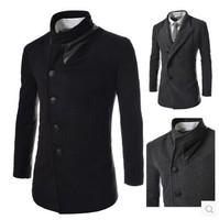2014 New Fashion Mens Wool Winter Coat Long Sobretudo E Casaco Masculino Korean Fashion Clothing For Men Designer Winter Jackets