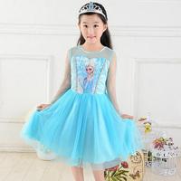 Retail Frozen Long Sleeve Children's Girls Costume Princess Elsa Lace Fantasy Kids Summer Girls Blue TUTU Frozen Dress Free Ship
