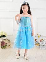 New Elsa Frozen Dress vestido frozen girls dress for 2-7ages Frozen Dresses Yarn Long-Sleeve Frozen Party Dress