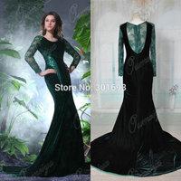 Oumeiya Real Sample ORP182 Elegant Velvet Long Sleeve Mermaid Emerald Green Prom Dresses Made in China