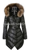 2013 Winter Raccoon Fur Women's Medium-long Slim Female Coat Down Outerwear