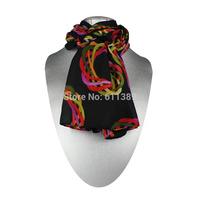 Free Shipping Fashion Faux Silk Scarf, Black Fashion Scarf, Silk Touch, Warm Scarf, 3 Pcs/Lot