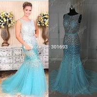 Oumeiya Real Sample ORP184 Sexy Mermaid See Through Diamond Rhinestone Prom Dresses Blue Turquoise