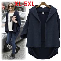 XXXXL Large Size Fat MM Clothing 2015 Spring Autumn Coat Loose Bat Sleeve Coat Female Jacket Women Cardigan Ladies Top Outerwear