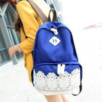 Free shipping Fresh lace canvas school bag shoulder bag backpack women