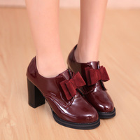 2014 spring fashion bow platform claretred single shoes thick heel gentlewomen japanned leather high-heeled shoes 2415