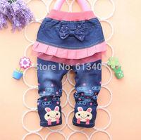 4pcs/1lot,kids clothing,100% cotton denim baby girls jeans,pink minnie cartoon clothing,free shipping