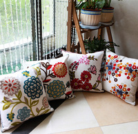 100% cotton canvas throw pillow square cushion sham covers, handmade embroidery toss pillowcase 58 styles for sofa decoration