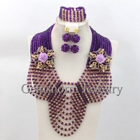 Gorgeous African Wedding Beads Jewelry Set Purple/Gold Crystal Rhinestone Jewelry Luxury Bridal Jewelry Set Free Shipping GS577