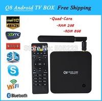 1pc/lot dhl free  2014 newest Q8 Quad Core  android tv box Rockchip 3288