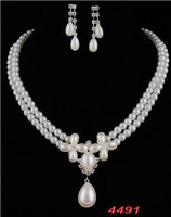 Droplets suit European and American fashion models imitation pearl wedding bridal sets wedding accessories chain earrings B9