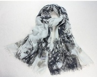 Brand popular in America Eurpean ink painting scarf ultra long ultra wide female 203x102cm