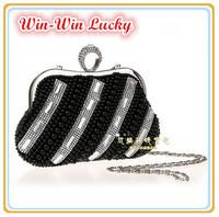 2014 New Women Elegant Pearl Handbag Bling Diamond Crystal Hand-beaded Evening Bag Party Clutch. Bridal Purse Pouch Shoulder Bag