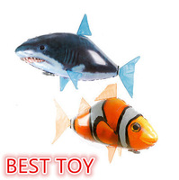 Best Nylon Aluminum Foil Membrane Air Flying Fish Shark Remote Control Flying Clownfish Inflatable Toy Gift Free Shipping