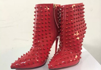 news 2014 fashion rivets women ankle boots heels high quality genuine leather women brand high heels  red autumn boots shoes