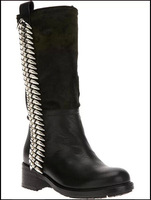 news 2014 genuine leather  women knee-high boots round-toe square women motorcycle boots brand bullets army  leather boots