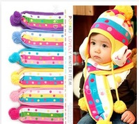 Cute 1-2 years BB Beanies For Kids Dot Stripes Rubbit Decoration Babdy Cap and Scraf Set Knit Crochet Hats Baby Free Ship CP046