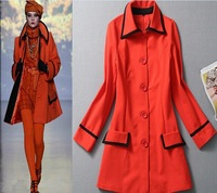 Big red double-breasted coat jacket, coat and long sections of high quality, long-sleeved winter coat long paragraph