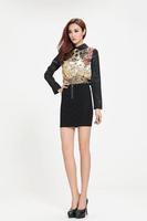 free shipping New 2014 Russia brand River silt Women Blouse Chiffon long Sleeves Casual Shirt V-neck  flower print tops