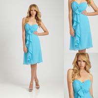 Charming Cheap Blue Sweetheart Knee Length Dresses For Bridesmaids E46