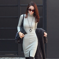 2014 Autumn Winter Cotton Knitted Dress Women Slim Long Sleeve Turtleneck Pencil Casual Sexy Bodycon Woman Office Dress Vestidos