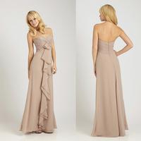 Charming Sweetheart A-line Chiffon Floor Length Bridesmaids Dress Gown E47