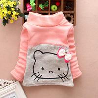 New 2014 Children Clothing Autumn Girls T-shirts Hello Kitty Warm Girls Undershirts Baby Girls Tees Kids Top Wear