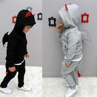 2014 Autumn stylish children's clothing wholesale Little Devil thickened Kids children's clothing child sports suit pants suit