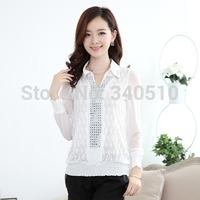 Free Shipping high quality chiffon solid Fashion full sleeve Diamond Floral Ladies leisure shirt
