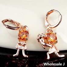 Propose Marriage Style With Big Golden Shining Stone Lovely Earrings Fashion Shipping Gold Plated Hot Item Wholesale CZ0164