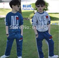 new 2014 spring autumn kids clothes sets baby boys sport suit children hoodies + kids pants both sides letter CASUAL suit