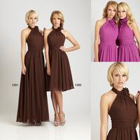 Fashion Custom Made Halter Open Back Chiffon Bridesmaid Beaches Dresses E50