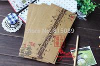 China Ancient Style Kraft Paper Letter Envelope Gift bag Postcard Storage Bag Dream Flower 21.8X10.9cm Free Shipping