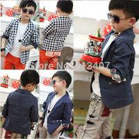 Free shipping 2014 clothing Polka Dot sleeve plaid wave point jacket children suit boy plaid coat blazers formal dress fashion