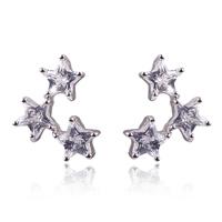 Punk 18K white gold Imitation diamond Three stars Champagne Stud Earrings women Anti-allergy jewelry birthday gift