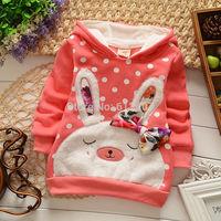 New 2014 winter jacket for girls baby rabbit outerwear for girls baby clothing winter coat parka children outerwear lassie ok307