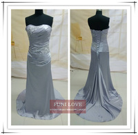 silver gray satin sweetheart ruffle neck short train bandage lace up simple cheap cheap hot evening dress