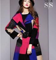 2014 new winter plaid wool coat woolen coat jacket wool coat female Autumn NDX135  Y9W