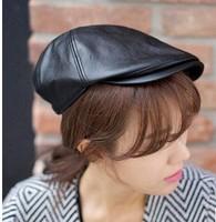 Brand 6 Colors New Fashion Women Soft PU Peak Cap Top Fashion Casquette Hat Lady Cricket 4 season Use Free Ship CP045