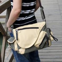 Men's messenger bags pu + canvas bag man student sports shoulder men's travel bags