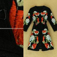 Name Brand Runway Winter Woolen Long Trench Coat 2014 New Women's Plus Size XXL Embroidery Vintage Wool Blends Coat Overcoat