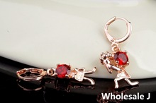 Propose Marriage Style With Big Red Shining Stone Lovely Earrings Fashion Shipping Gold Plated Hot Item