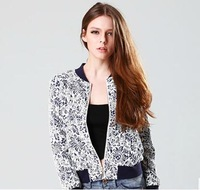 New Autumn Women Slim Vintage Porcelain Prints Baseball Uniform Jacket Coat,Ladies Fashion Casual Zipper Outerwear w110