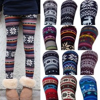 Hot!! New Fashion 2014 Aztec Leggings for Women Knitted Slim Christmas Footless Leggings Cotton Made Snowflake Tribal Print