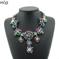 2014 New Fashion Gorgeous Brand Rhinestone Strand Choker Statement Necklaces Pendants Design Body Chain Colar Women Jewelry
