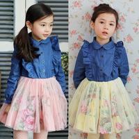 2014 Fall Winter Collection Cowboys big flower girls dress Tong skirt girls dress