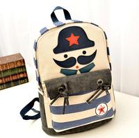 Canvas school bags cute cartoon students backpacks beard backpack men and women travel bags