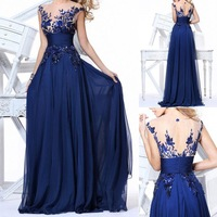 Wholesale -Cocktail Homecoming Prom Party dresses Prom Gowns Chiffon Royal Blue As Pictures Sheer Back