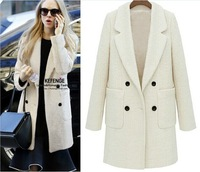 Thick warm wool coat, long paragraph Slim models long-sleeved jacket with double-breasted star